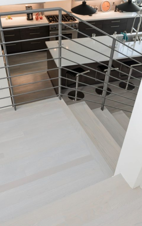 Los Angeles unfinished oak floors bleaching & staining gray